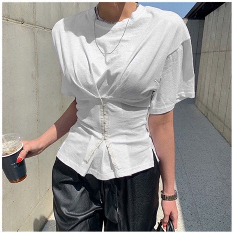 Solid Color Short-Sleeved White Spring Autumn Summer Vintage Clothes For Women T-Shirt Tops Blouses Vetement Femme 2021
