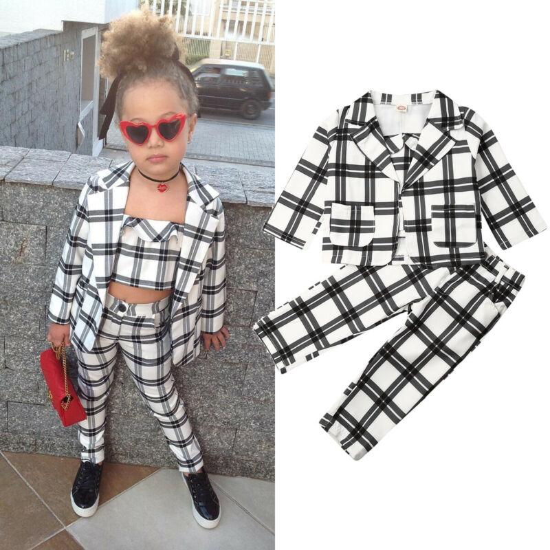 3Pcs Fashion Kids Baby Girl Winter Clothes Sets 2-7Y Plaid Print Coat Undercoat + T Shirts+Pants Outfits