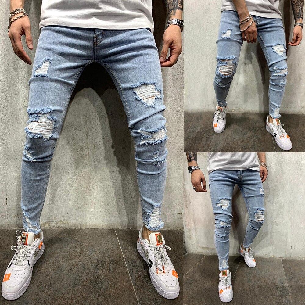Уличные мужские облегающие джинсовые брюки WHigh, модные Молодежные широкие мужские джинсы