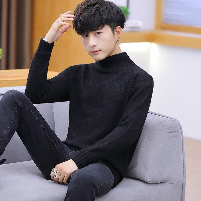 Свитер мужской, свитер с высоким воротником, мужской свитер, вязаная одежда, облегающие свитеры с длинным рукавом, мужской облегающий трико...