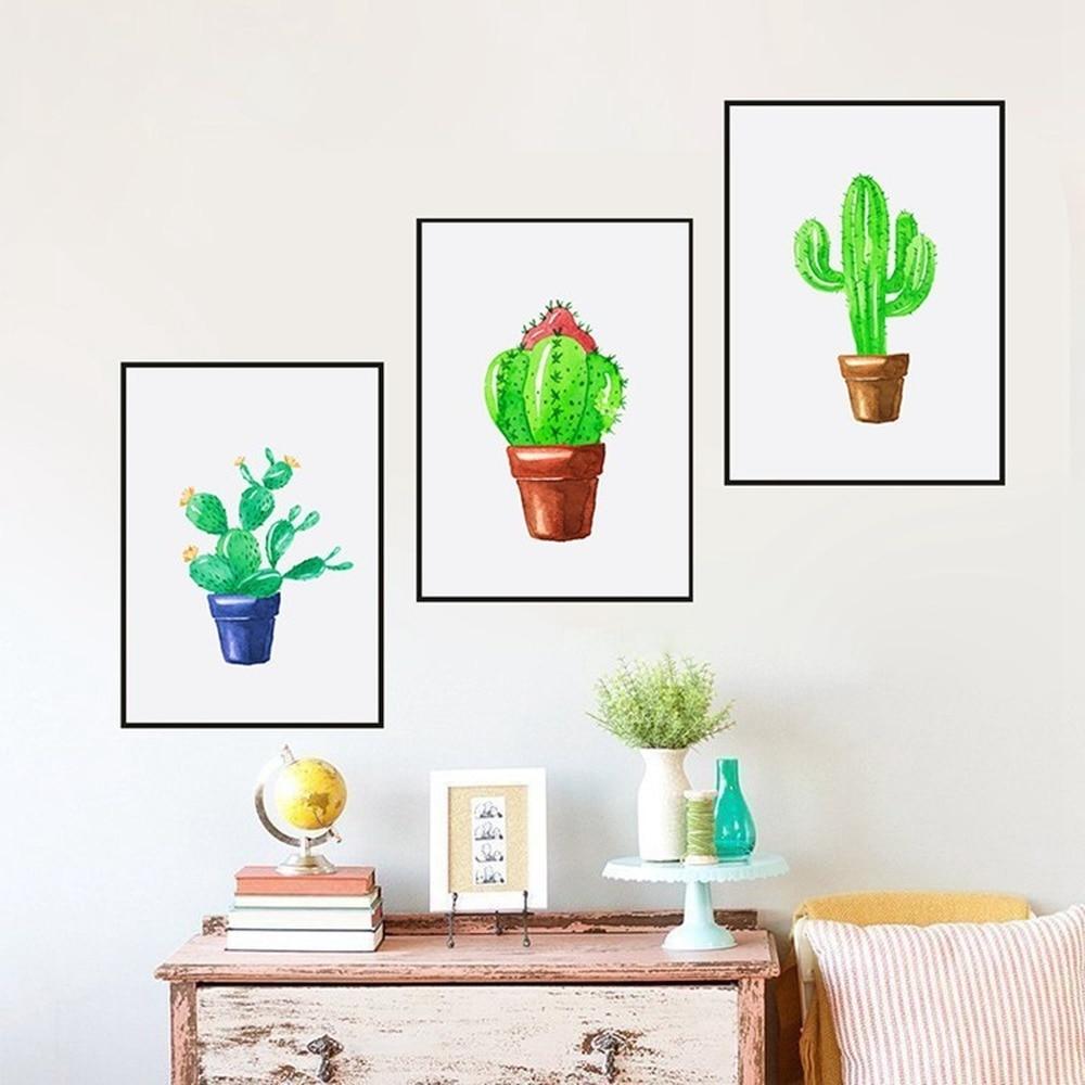 Маленькая картина с зелеными растениями, Современная Минималистичная трехместная роспись кактуса, постеры в горшке, настенный Декор для до...