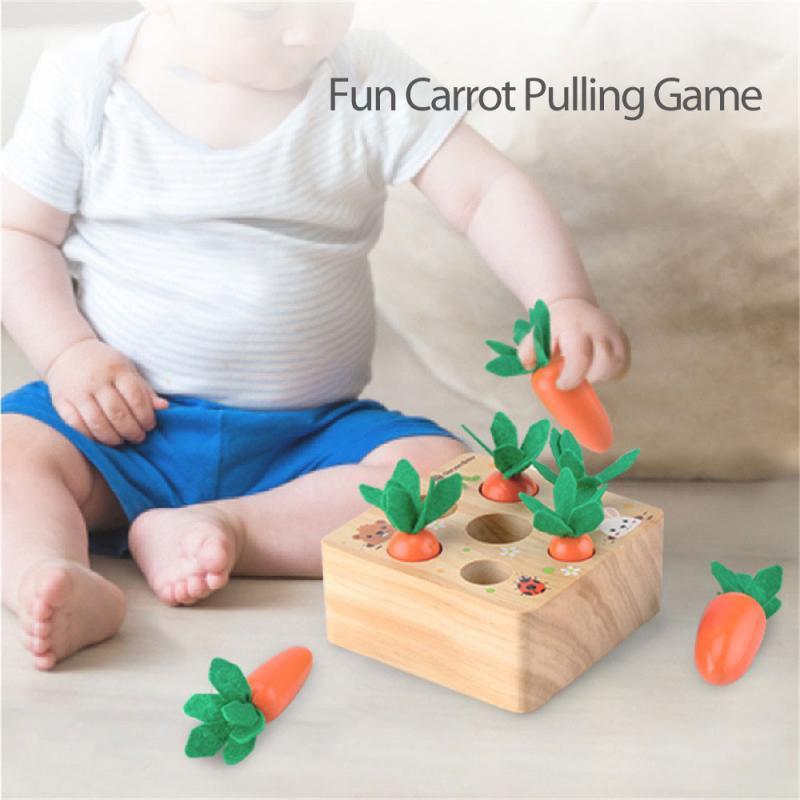 Лидер продаж, деревянные игрушки для малышей, набор игрушек Монтессори, развивающая игрушка Монтессори в форме моркови, соответствующего р...