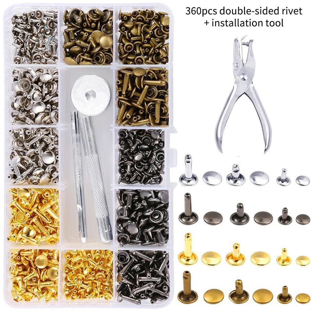 Rebites de couro tubular e de 3 tamanhos, rebite para metal, com 4 conjuntos de ferramentas para uso doméstico, 360 peças artesanato de artesanato