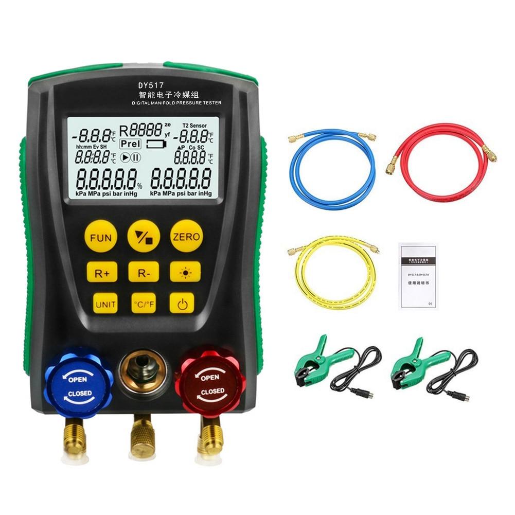 DY517 0 ~ 6000 كيلو باسكال المنوع قياس الضغط التبريد الرقمية فراغ ضغط المنوع جهاز قياس درجة الحرارة اختبار الضغط
