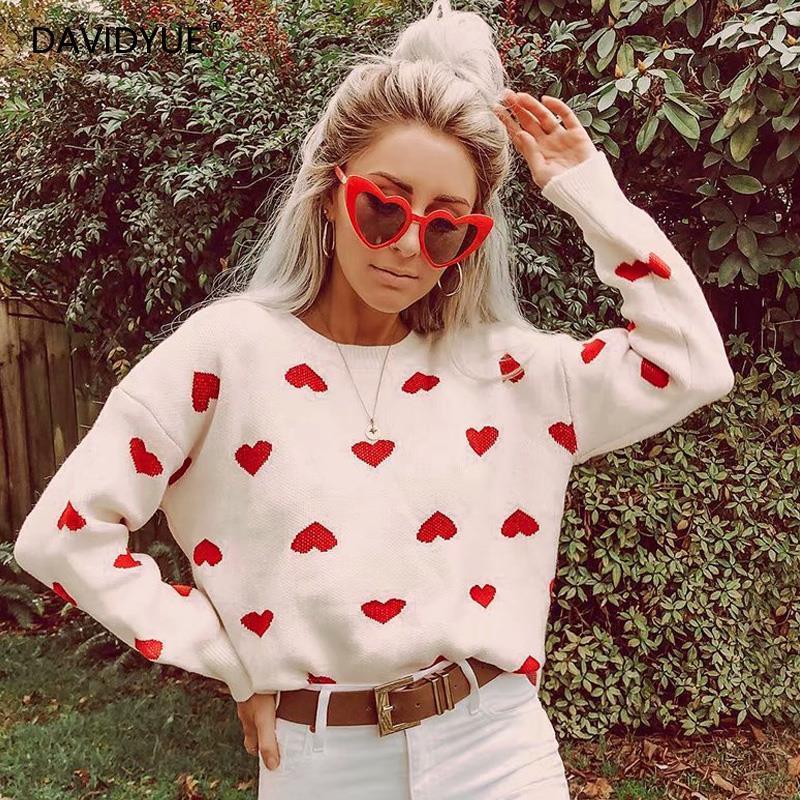 Zity camisola de malha feminina outono 2019 pulôver bonito coração vermelho camisola de natal inverno roupas femininas camisolas pulôveres coreano sw