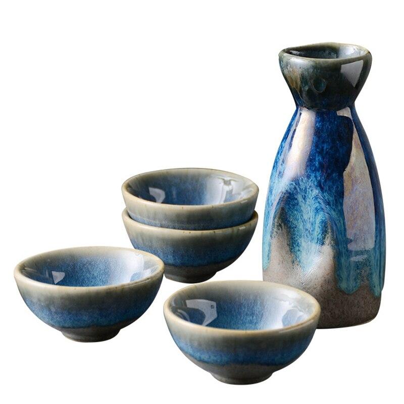 5Pcs Ceramic Flagon Liquor Cup 1 Pot 4 Cups Retro Japanese Sake Set Creative Retro White Wine Pot Home Bar Party Sake Drinkware