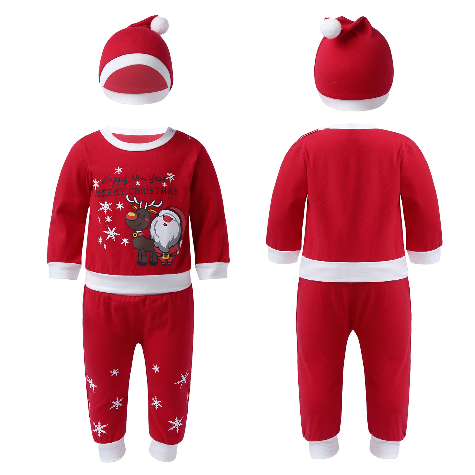 Baby Girls Christmas Newborn Toddler Xmas Clothes Sets Letter Printed Romper Tops with Pants Hat Out