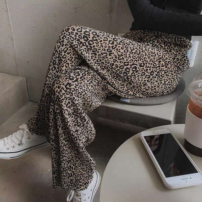 Lanmrem 2020 novo verão pernas largas cintura alta leopardo impresso elástico calças de comprimento total feminino wm13816m