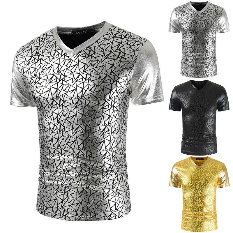 2021 New Summer Fashion Casual Men's Bright Print V-neck Slim Hip-hop Short Sleeve Men's T-shirt zogaa new summer breathable short sleeve polka dot print fashion casual slim short sleeve shirt 3xl