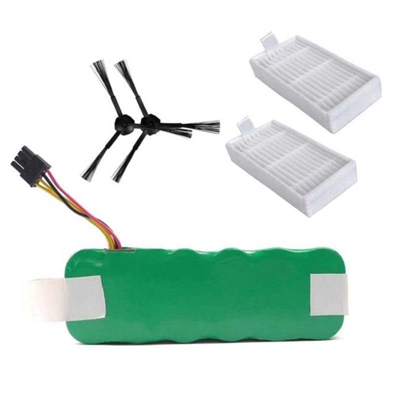 Top Deals 14.4V 3500MAh for Panda X500 Battery x 1 + Side Brush x 2 + Hepa Filter x 2 for Dibea Dim X500 ECOVACS / Cobos Mirror