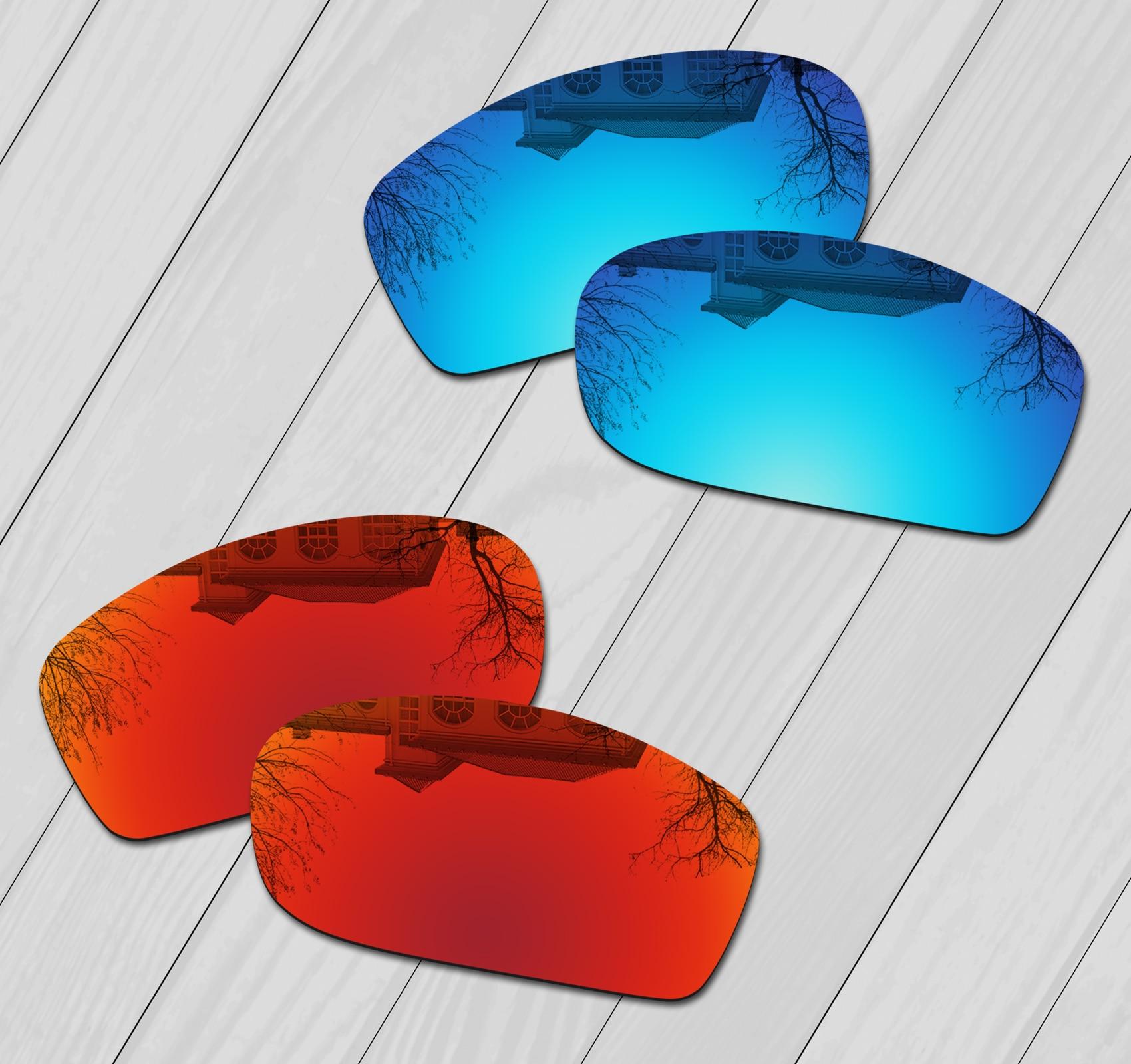 E.O.S 2 أزواج الجليد الأزرق و النار الأحمر مرآة الاستقطاب استبدال العدسات ل أوكلي كبيرة مربع سلك النظارات الشمسية
