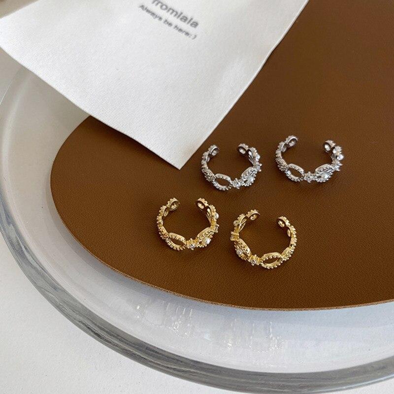 Korea Micro-incrustado zirconia cristal barroco perla hueco oreja hueso Clip pendientes sin perforado oro plata Color Metal joyería