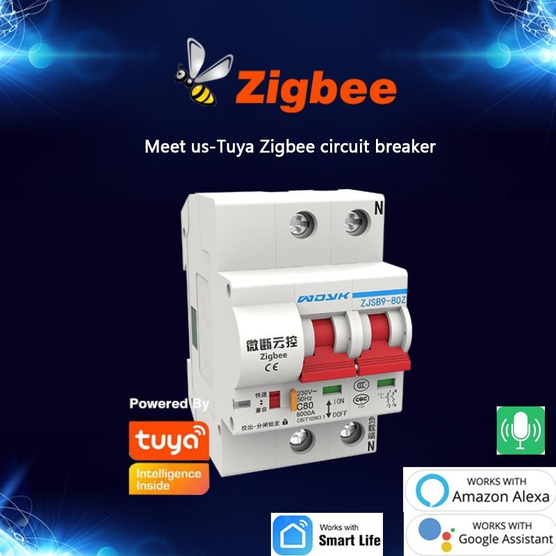 Interruptor de ar Controle de Aplicativo de Voz para Alexa Pces Smart Disjuntor 10a-125a 220v – 380v Zigbee3.0 Google Tuya 3 1-4p