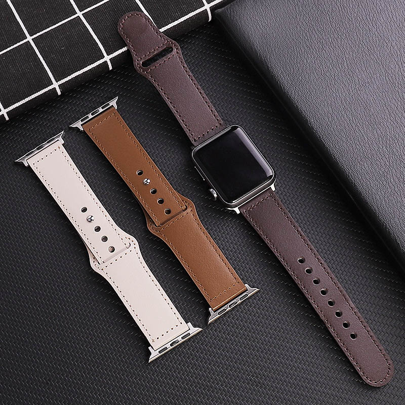 leather loop strap for apple watch 5 band 44mm 40mm iwatch band 42mm 38mm bracelet genuine leather watchband series 6 5 4 3 2 se Genuine Cow Leather loop Bracelet Belt Band for Apple Watch 6 SE 5 4 3 42MM 38MM 44MM 40MM Strap for iWatch 6  SE 5 4 Wristband