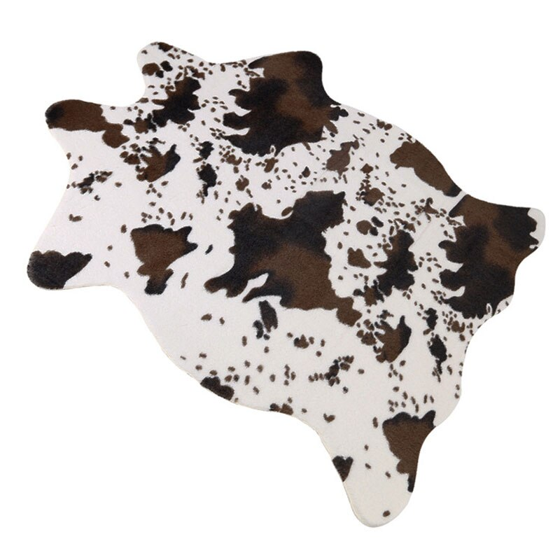 Sholisa Faux Cowhide Cow Hide Floor Mats Handmade Simulation Animal Skin Leather Area Rug Carpert Pelt Cow Hide for Living Room