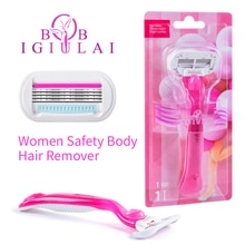 Hot 1Handle&1Blade Safety Replacement Women Blades Manual Stainless Steel Blade Shaving Razor 4Layer