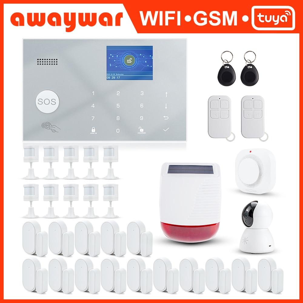 Awaywar-نظام إنذار لاسلكي Tuya ، 433 ميجاهرتز ، wi-fi ، GSM ، RFID ، مجموعة أمان التطبيق ، جهاز التحكم عن بعد ، كاشف باب PIR ، المنزل الذكي ، مضاد للسطو