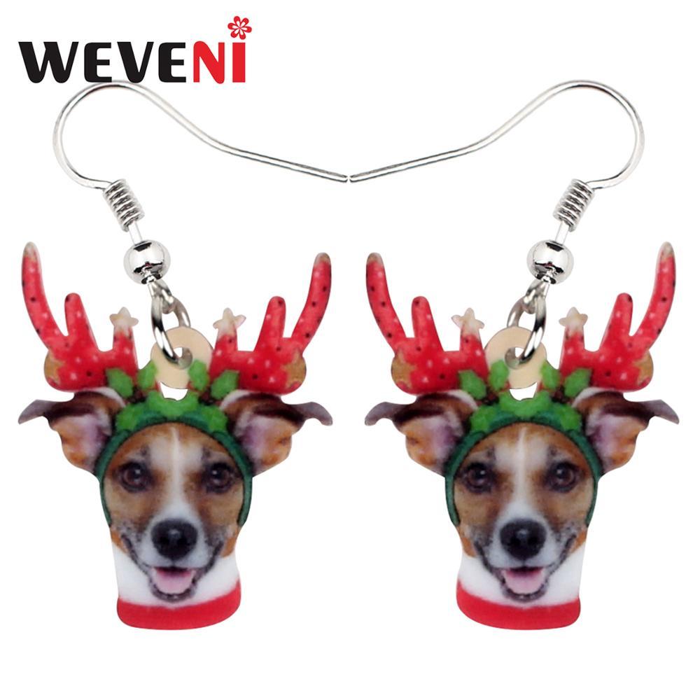 WEVENI Acrylic Christmas Antlers Chihuahua Dog Earrings Drop Dangle Fashion Pets Jewelry For Women Girls Lover Kids Charms Gift