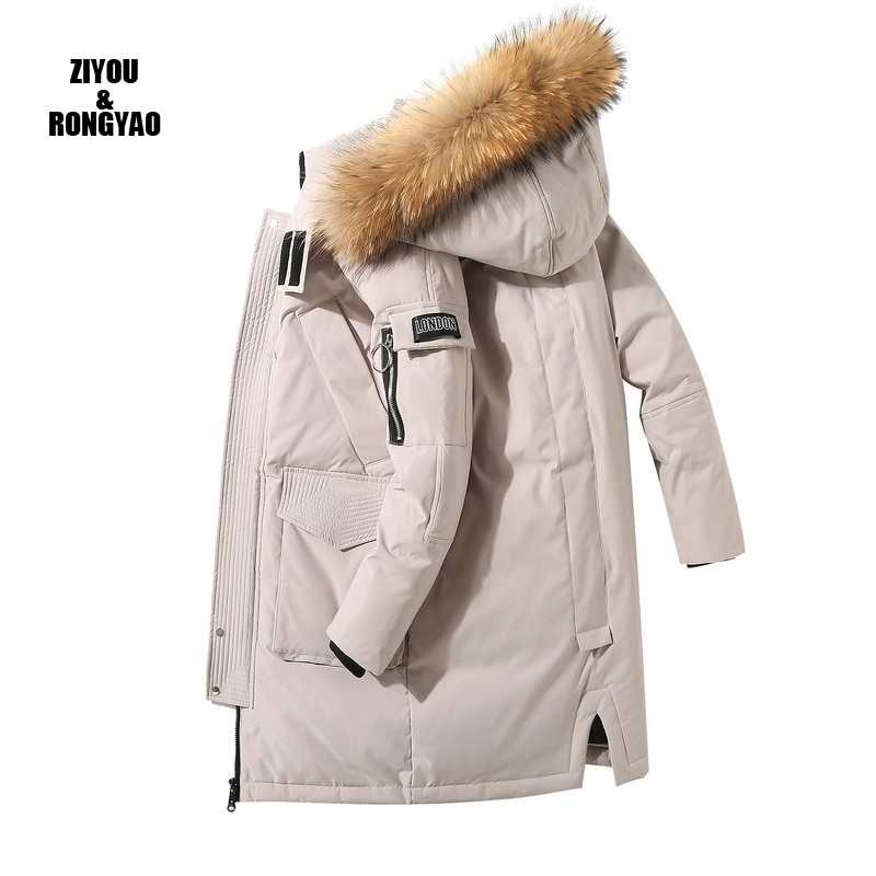 Long Down coat men White Duck Down Jacket Men Thick Winter warm Fur Collar Parka  Male  Hooded Overcoat Top Quality