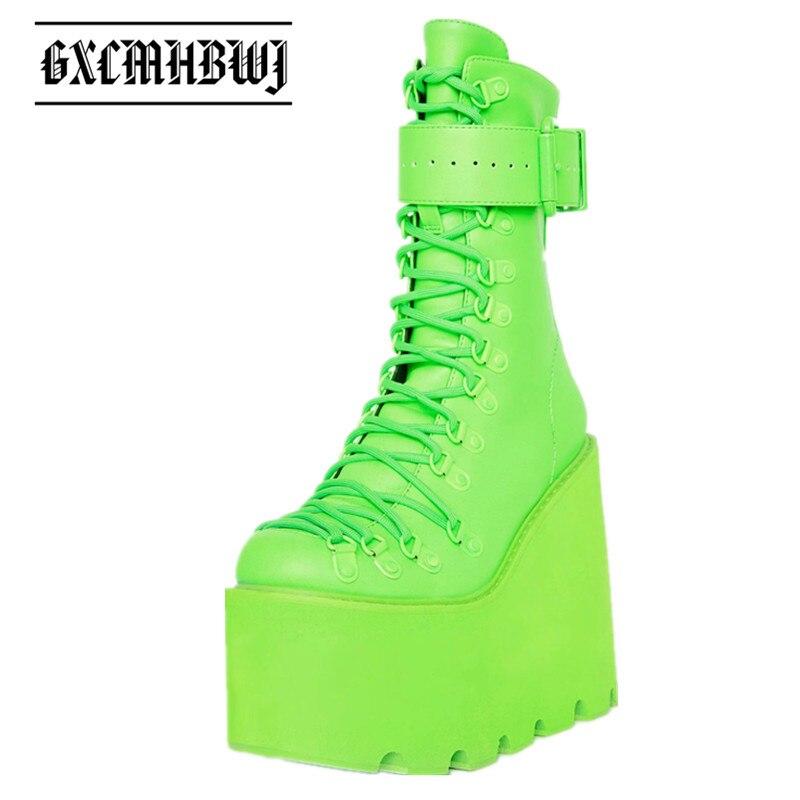 GXCMHBWJ ربيع الخريف الأخضر عالية منصة الأحذية النسائية مشبك حزام الدانتيل يصل إسفين سيدة حذاء من الجلد فاسق Goth Demonia الأحذية
