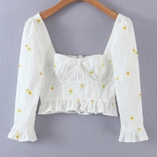 Western Style Women's Clothing French Fashion Daisy Embroidery Square Neck Shirt Girl Cotton Short S