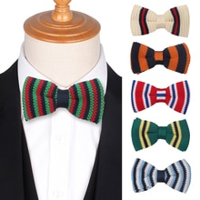 Men Knit Bow Tie Classic Knitted Bowtie For Men Women Adult Casual Striped Bow Ties For Business Wed