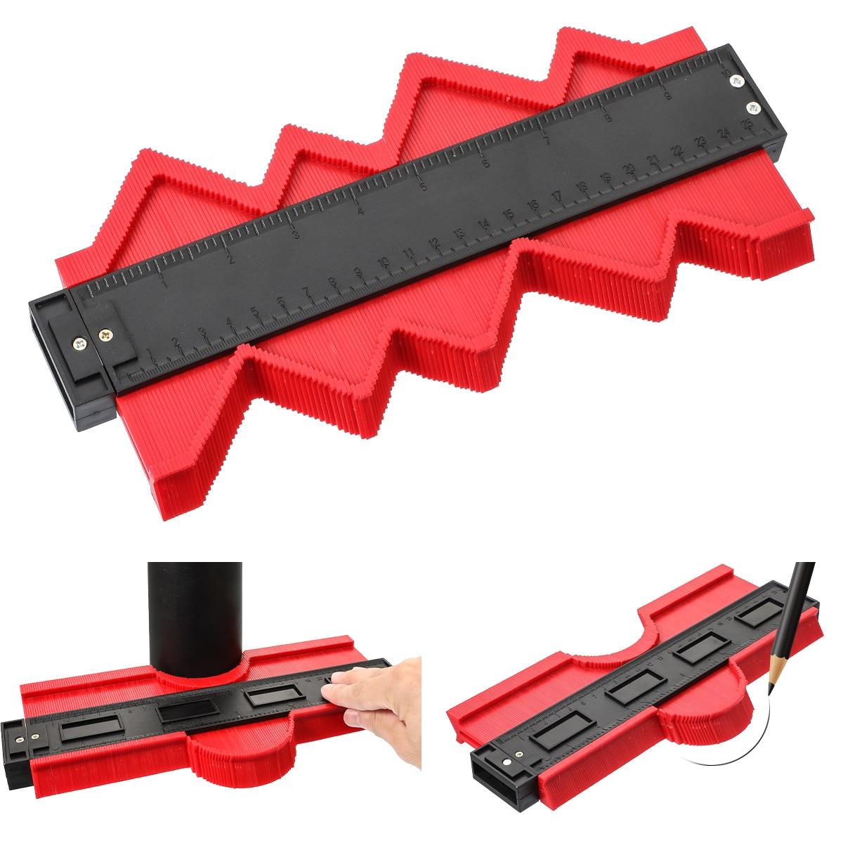 Règle de profil en plastique de duplicateur de jauge de Contour de jauge de profil de 12/14/25/50cm pour copier loutil de marquage en bois de forme irrégulière Tilimg