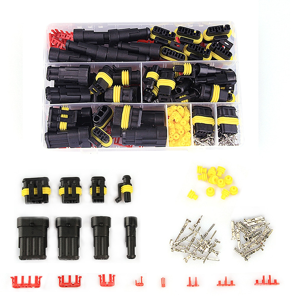 352pcs HID Waterproof Connectors 1/2/3/4 Pin 26 Sets Car Electrical Wire Connector Plug Truck Harness 300V 12A Quick delivery