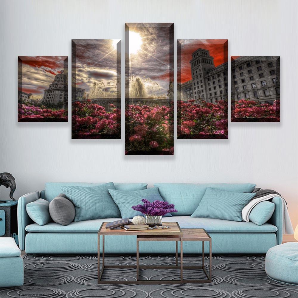 Marco de fotos impresiones de decoración del hogar moderno cartel 5 piezas...