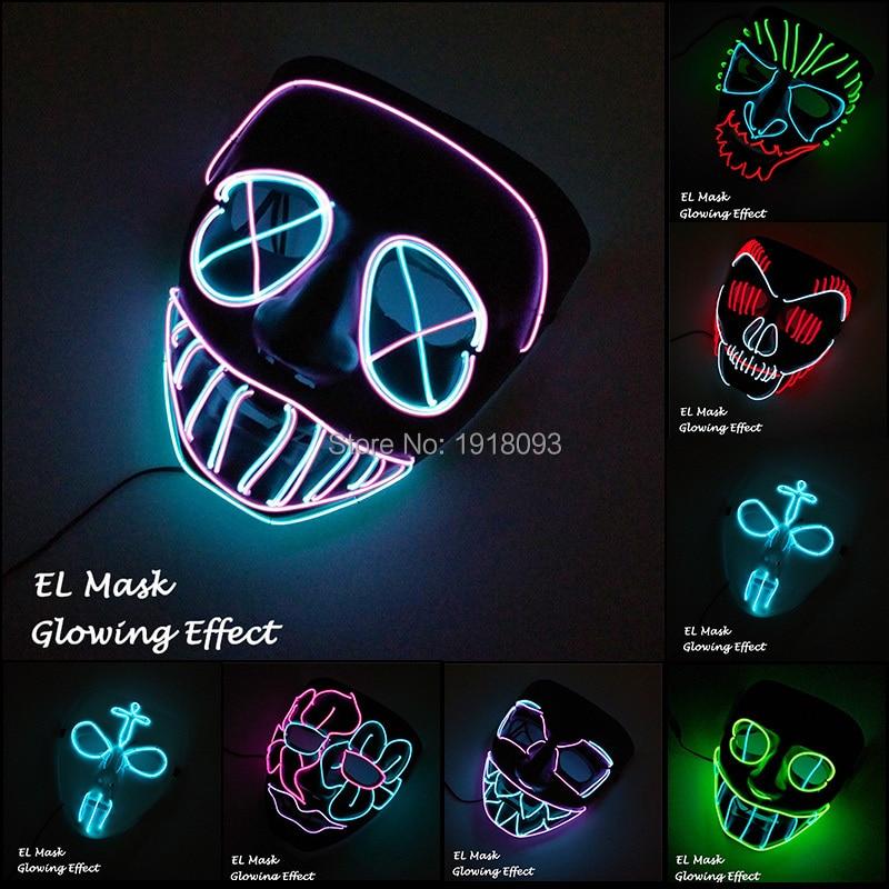 Новейшая EL Wire Mask 13 стилей, доступная грузовая маска, Светодиодная лента, световая маска, декор для нового освещения, товары для вечеринок