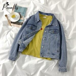 Женская джинсовая куртка Peonfly, винтажная Базовая однобортная куртка с карманами в стиле Харадзюку, верхняя одежда, осень 2020
