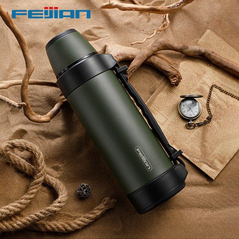 ترمس عسكري FEIJIAN ، ترمس محمول للسفر للشاي ، أكواب كبيرة للقهوة ، زجاجة ماء ، ستانلس ستيل ، 1200/1500 مللي