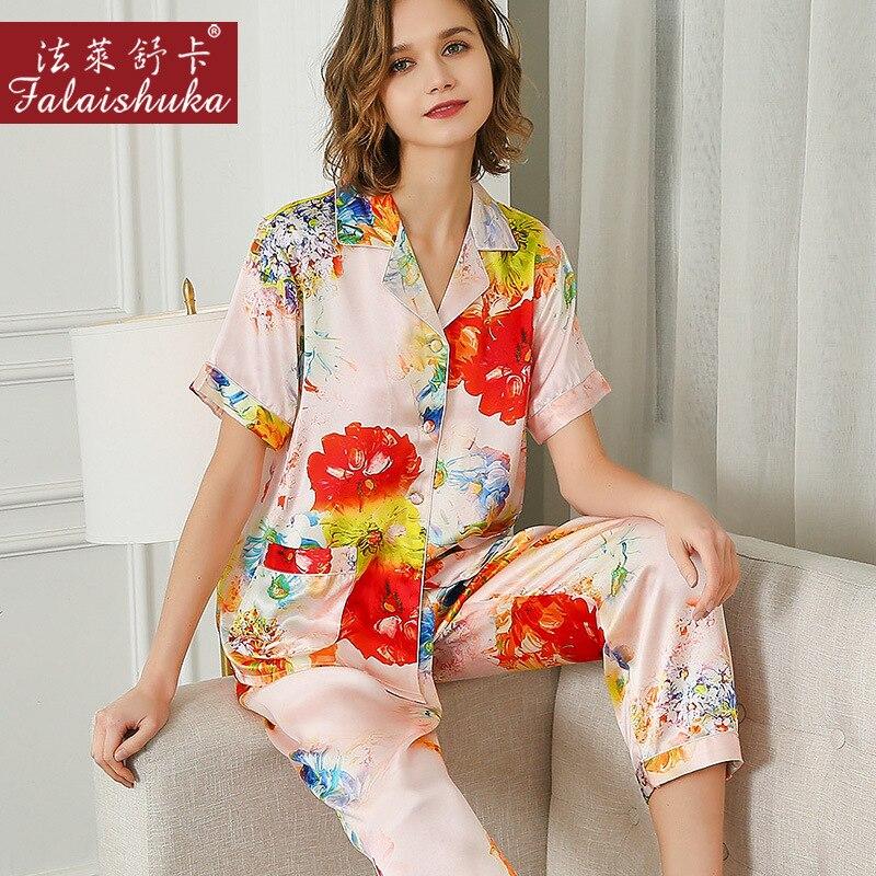 100% Natural Silk Pajama Sets Female Summer Real Silkworm Silk Sleepwear Short Sleeve Printed Women Pyjamas T8239