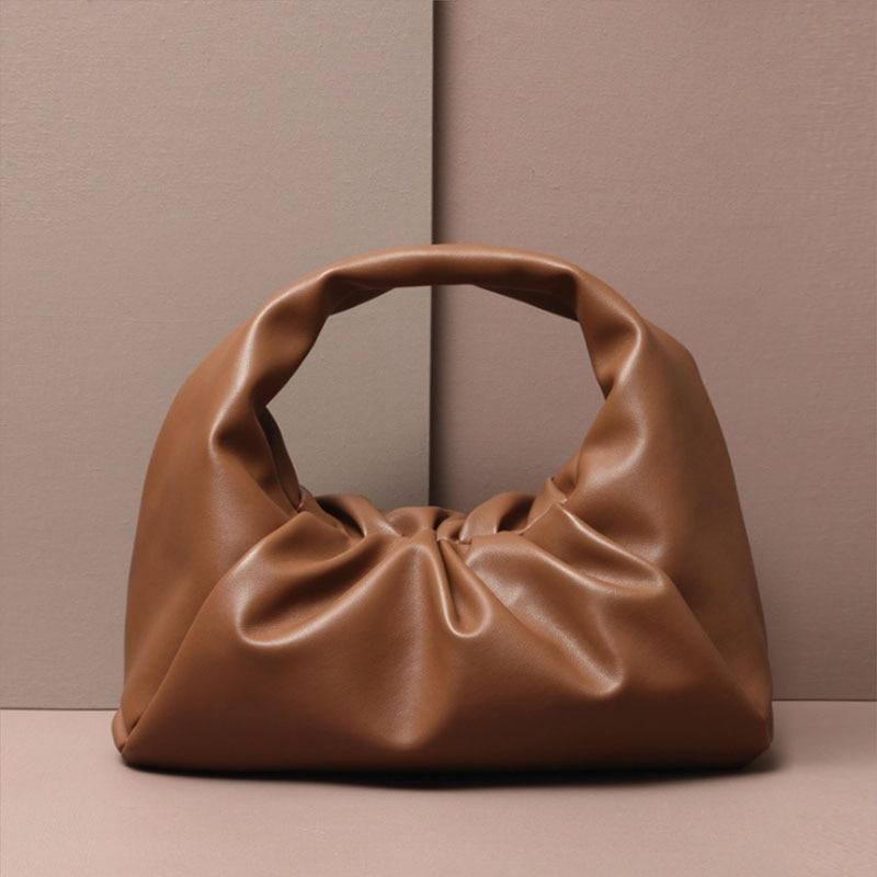 Monogrammed Letters Pouch Genuine Soft Leather Women Cloud Bag New Handbag Fashion Hand Purse Clutch Bag Dumpling Shoulder Bag