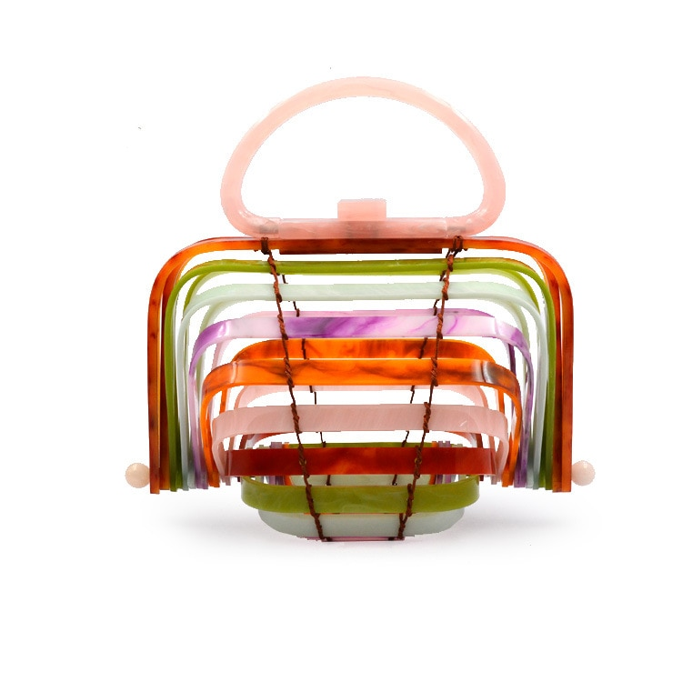 New Summer Beach Acrylic Hollow Bag Novel Rope Ladies Bag Acrylic Beach Tote Bag Acrylic Bag Handbags Type Style Shape
