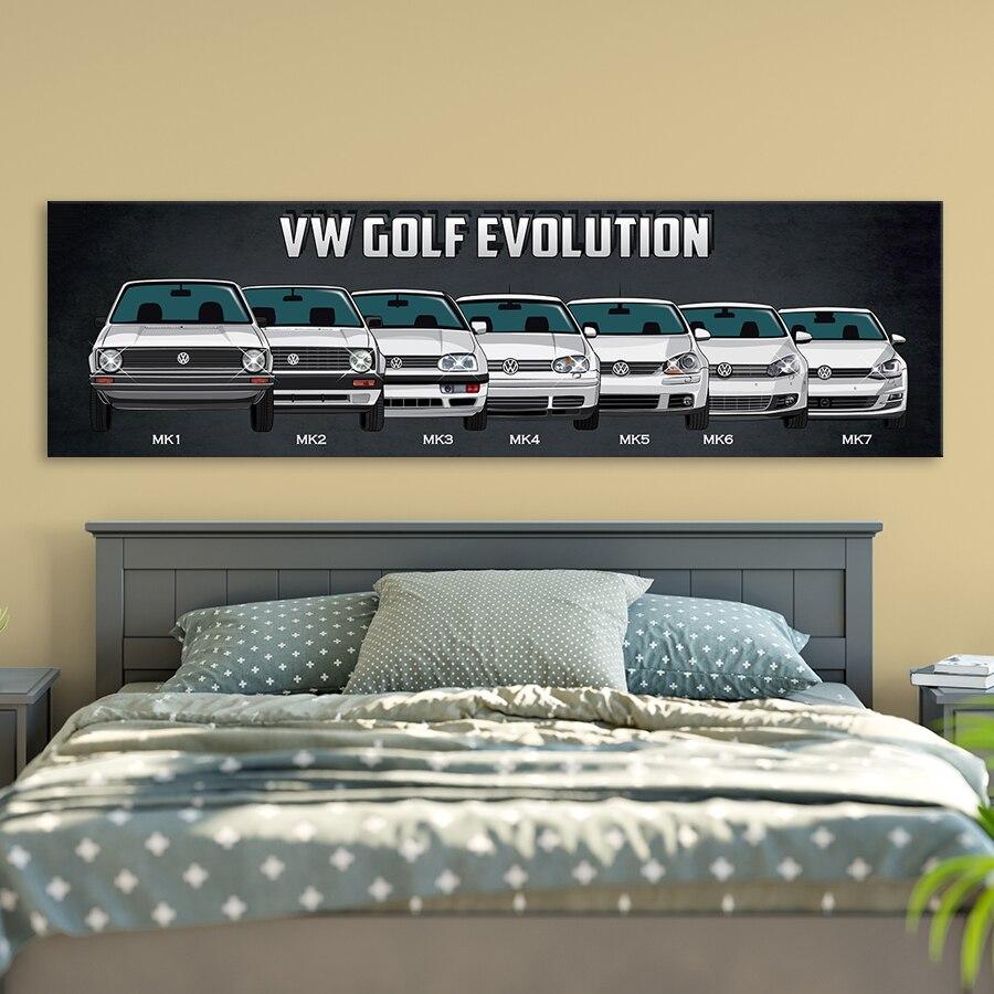 Póster Vintage/Retro de coche deportivo con autobús VW, pinturas nostálgicas de coche clásico, arte para pared, decoración para el hogar, impresión HD de 1 pieza