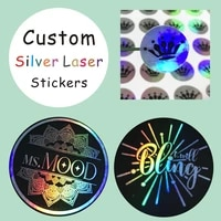 100pcs silver laser customized text logo holographic stickerperson stickers label adhesivecustom you compay logo lables