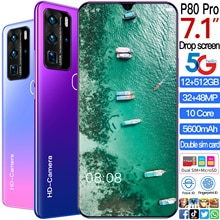 Newest P80 Pro mobile phone 7.1-inch 4G 5G network 10 Core ROM Android 10.0 Smartphone Global versio
