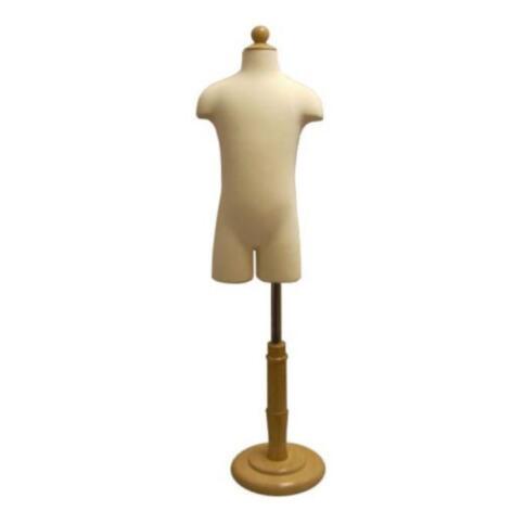 1-2 años bebé medio torso niño realista 1 pieza maniquíes pantalla con base de madera circular tela flexible tela para vestido, M00088A