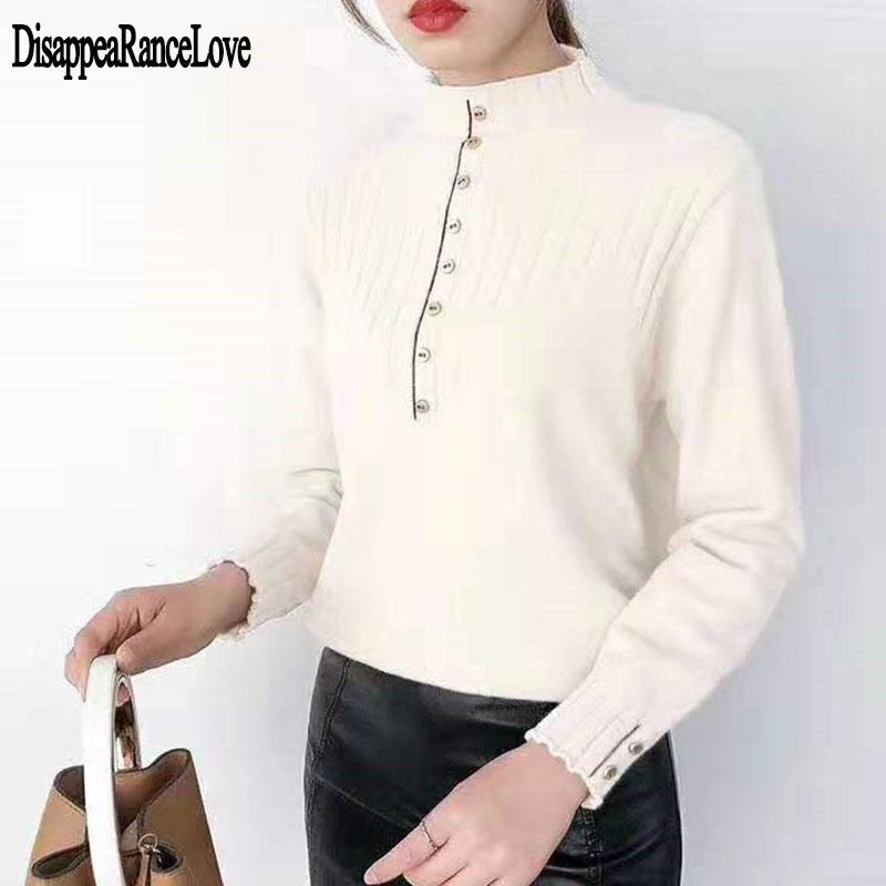 Suéter de medio cuello para mujeres otoño invierno nuevo 2020 conjuntos suéteres de manga larga gruesa dentro Delgado apretado suéter con botones femenino