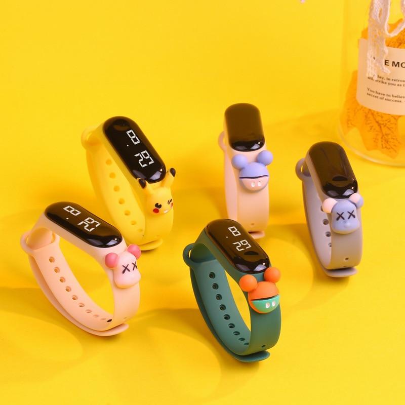 Большие электронные цифровые часы с мультипликационным рисунком, детские часы со светодиодным дисплеем, милые водонепроницаемые часы для ...