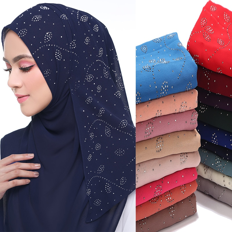 Women's Bubbles Chiffon Scarf Leaf diamond studs scarf hijab shawls Wraps solid color muslim hijab scarf