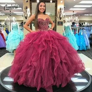 Chic vestido de 15 anos Ball Gown Ruffles Tiered Quinceanera Dresses Sweetheart Beaded Corset Back Sweet 15 Dress Girls