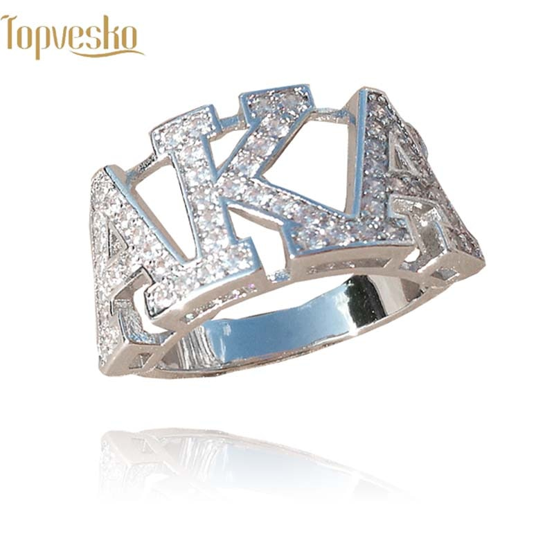 Topvekso Greece Greek Top quality Cubic zirconia AKA custom  silver Sorority Dst letter Finger Ring  Jewelry