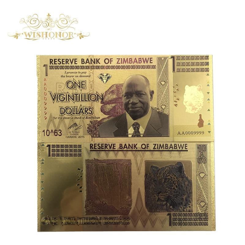10 Uds./unids/lote, billetes de banco de Zimbabue, un billete de oro de 24 K, con luz UV para regalos de recuerdo y colección