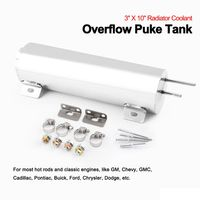 3 X 10 Radiator Coolant Overflow Puke Tank Polished Stainless Steel 32OZ