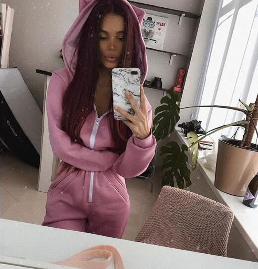 2020 Otoño Invierno mujer cremallera sudaderas con capucha cuello bolsillo suelto monos para niñas Casual Go Out Sport overoles Rosa negro Playsuit
