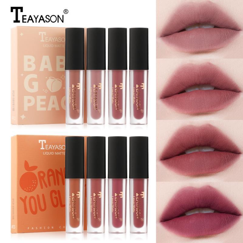 4 Pçs/set Esmalte Lábio Hidratante Líquido Lip Gloss Batom Matte À Prova D Água de Longa Duração À Prova D Água Lábio Maquiagem Maquillage TLSM2
