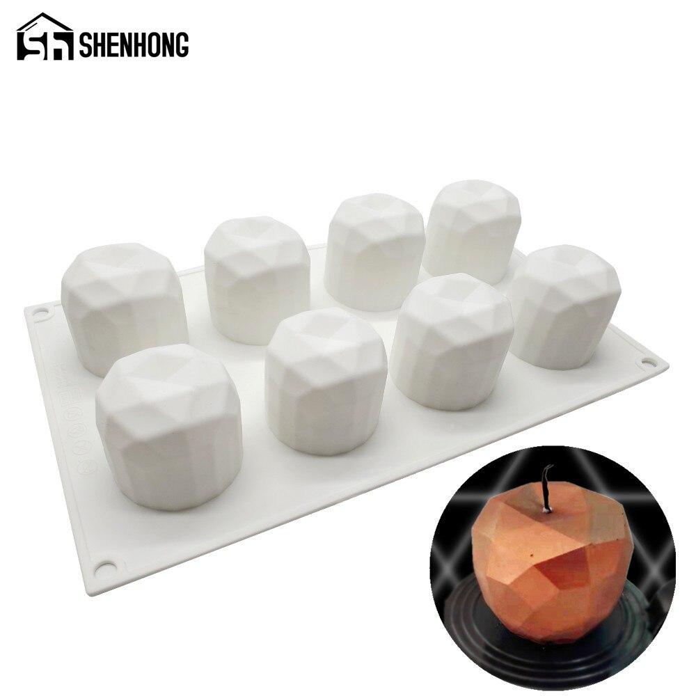 SHENHONG 8 agujeros de Apple molde de pastel de silicona Mousse de herramientas para hornear francés hojaldre para postres bandeja Chocolate Magdalena del molde