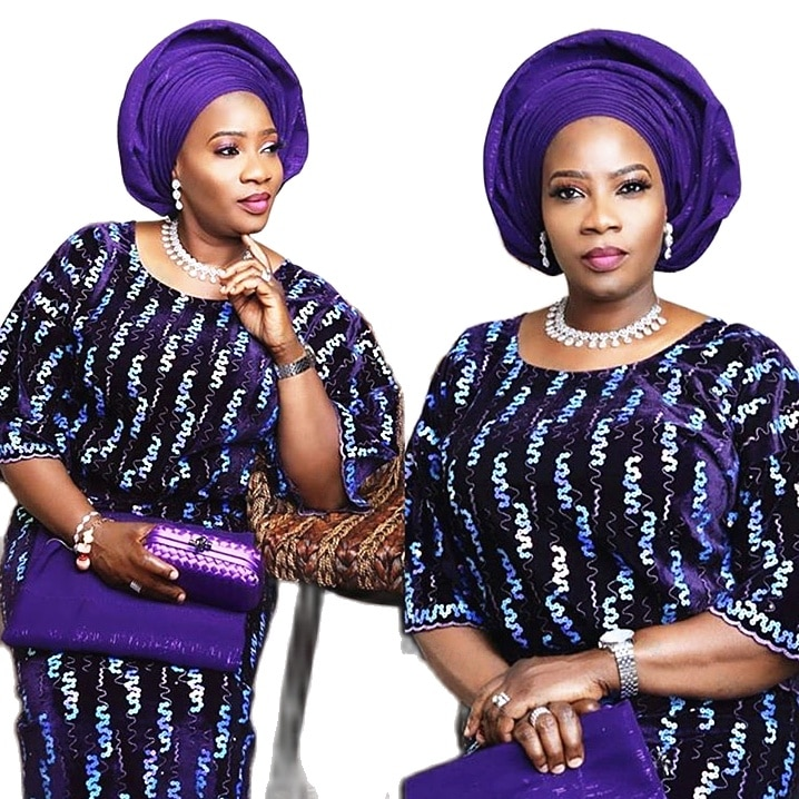 African Embroidered Sequin Velvet Lace Fabric 2020 Nigerian Embroidery velvet Sequence lace Latest Hot Sale Fashion dress